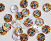 Flower Power Printed Shell Buttons - Multicoloured Floral Design - 23mm