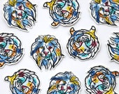 Paint Splash Line Drawing Iron on Patch - Big Cats - Lion and Tiger - Paint by Numbers Style - Embroidered Appliqué Motif