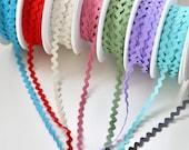 Ricrac - Rose Pink, Red, Sage Green, Cream, Turquoise, Aqua, Grey, Lilac - Crafts and Costumes - Ric Rac/Rick Rack Trim - 8mm Wide