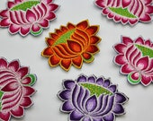 Handmade Lotus Flower Motifs - Machine Embroidered Patch