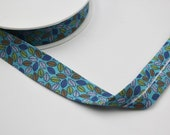 100% Cotton Leaf Print Bias Binding with Aqua Background 27mm Wide