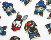 Cosy Critter Iron on Patches/Motifs, Dog, Cat, Rabbit Wearing Scarfs and Hats Iron on Pet Motifs