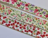 Bias Binding/Trim/Tape - Floral or Red Cherry Bias Binding 100% Cotton - 20mm Wide - Sold by the Metre - Printed Bias Tape