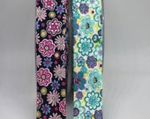 Bias Binding - Retro Floral Daisy Print Bias Binding with Soft Feel - 100% Cotton, White, Aqua, Pink, Navy Flowers 25mm/2.5cm Wide