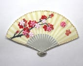 Iron on Motif - Embroidered Oriental Fan Motifs/Patches with Delicate Pink Cherry Blossom Design and Metallic Thread Detail 4cm x 6.3cm
