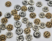 Hand Carved Bone Buttons in Ammonite, Daisy, Retro Flower Designs 15mm buttons