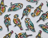 Paint Splash Line Drawing Iron on Patches - Bird Appliqué - Kookaburra, Owl, Parrot - Embroidered Motif