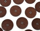 Large Buttons - Canvas Look Button in Brown - 39mm - Four Hole