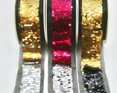Swipe Sequin Trim -  Gold/Silver, Hot Pink/Silver, Gold/Black Reversible Sequin Trim/Waistband 4cm wide on tulle backing 5.7cm wide