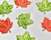 Maple Leaf Patches/Maple Leaf Embroidered Motifs in Autumnal Burnt Orange or Leaf Green with Fine Gold Stitchwork Approximately 6cm x 6cm