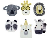 Embroidered Animal Face Motifs - Giraffe, Lion, Koala, Panda, Polar Bear, Zebra - Iron on Patch