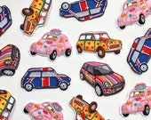 Vintage Mini, Beetle Car Iron on Patch - Embroidered Appliqué Patches  - Union Jack - Brit Pop - Mod - Flower Power Motif