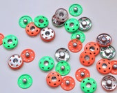 Neon Snap Fastenings - Fluorescent Green and Orange Metal Poppers - 20mm
