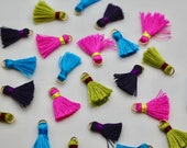 Mini Silky Tassel on Jump Ring Embellishment 2.5cm (6 pack) in Neon Pink. Dark Purple, Spring Green, or Turquoise
