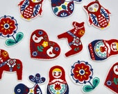 Nordic Folk Inspired Patches/Motifs - Dala Horse, Russian Doll, Blue Bird, Flower, Heart, Owl