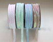Sparkly Ribbon - Iridescent Mint and Light Pink Ribbon/Nude Ribbon/Ballet Pink Ribbon - 1cm Wide/Unicorn Ribbon/Glitter Ribbon