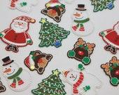 Christmas Character Iron-on Motifs -- Father Christmas, Santa, Snowman, Snow Bear, Polar Bear, Christmas Tree - Embroidered Appliqué patch
