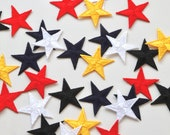 Star Embroidered Iron on Patches - Red, Yellow, Black, White, Navy - 3cm