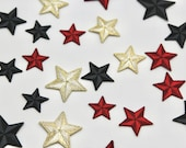Star Motifs - Two Tone Embroidered Star Iron-on Motif 2cm, 4cm, Gold/Silver, Red, Black