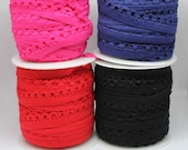 Elastic - Fancy Edge Soft Back Elastic Pink Elastic/Navy Blue Elastic/Red Elastic/Hot Pink Elastic/Black Elastic/Bra Elastic 12mm/1.2cm