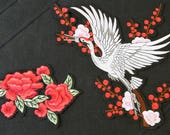 Giant Iron on Embroidered Crane and Peony Flower Motifs - Large Beautiful Quality Iron on Patches
