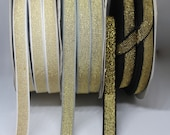 Metallic Elastic - Metallic Lurex Elastic Black/Gold, White/Gold, Grey/Gold - 12mm/1.2cm wide - Bra Strap, Waistband Elastic