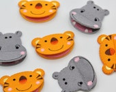 Hippo or Tiger Patch - Mouth Flaps Open!  Superb Quality Iron on Embroidered Felt Hippo Motifs/Patches Appliqué Patch