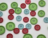 Stylish Four Hole Ridge Edge Cross Engraved Buttons 18mm in Duck Egg Blue, Cherry Red, or Green