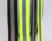 Flexible Reflective Trim - Grosgrain Ribbon with Reflective Strip Neon Yellow/Green Florescent Yellow Hi-Vis