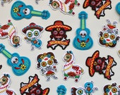 Mexican Day of the Dead Iron on Patches - Señorita, Señora, Guitar, Llama, Sugar Skull, Muertos - Colourful Embroidered Motifs