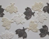 Embroidered Lace Bee Motifs - Iron-on Patch - Measuring Approx 3.5cm x 3.5cm