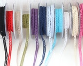 Cluny Lace Trim - Narrow 100% Cotton - Turquoise, Navy, Olive, Black, White, Red, Pink, Purple, Cream, Linen - 8mm Wide