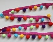 Rainbow Pom Pom Trim - Chunky Multicoloured 30mm wide - Crafts and Interiors