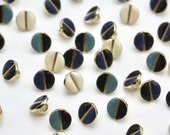 Wink Buttons -  Two-Tone Enamel on a Gold Coloured Metal Shank button - Tiny metal Buttons - by Atelier Brunette - 9mm