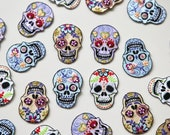 Sugar Skull Iron on Patches - Pretty Embroidered Skull Motif - Mexican Day of the Dead