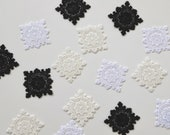 Delicate Lace Motifs - Square - White, Cream/Ivory, Black - 4cm