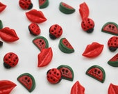 Watermelon - Lips - Ladybird - Red Plastic Novelty Buttons - sold in pairs