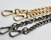 Solid Metal Chain Bag Strap with Swivel Clip Ends - Gold / Storm Grey  - 120cm
