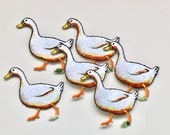 Farm Animals Iron on Patches - Duck/Goose, Goat - Satin Embroidered Motif Appliqué