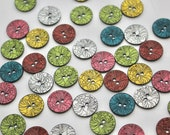 Stylish Two Hole Sew Through Etched Buttons in Pink, Teal, Ivory, Yellow and Brick Red. 18mm