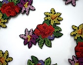 Cross Stitch Embroidered Flower Cluster Motif/Patch Iron on Patch - Colourful Embellishment for Clothes Appliqué Patch