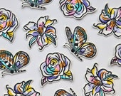 Paint Splash Line Drawing Iron on Patches - Flower, Butterfly, Lily, Rose - Floral Appliqué - Embroidered Motif
