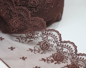 Brown Lace Trim - Exquisite Quality Lace in Cherry Chocolate Brown - Sold by 1/2 Metre -Lingerie/Bridal/Lace for Dressmaking/Bra Making Lace