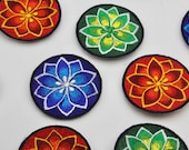Handmade Chrysanthemum Motifs - Machine Embroidered Patches