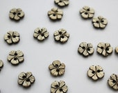 Pair of Tiny Delicate Carved Flower Buttons 1cm/10mm 100% Coconut Shell Two-Hole Button