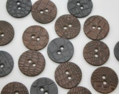 Leather Statement Buttons - 100% Genuine Leather Embossed - Chunky Large Buttons 43mm Wide