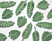 Tropical Leaf Patches - Iron on Motifs - High Quality Embroidered Patch