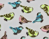 Sparrow Garden Bird Iron on Motifs in Pink, Blue, or Green - High Quality Embroidered Iron on Patches
