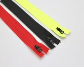 Waterproof Zips 20cm Red, Black, Royal Blue, Neon High-vis Fluorescent Yellow