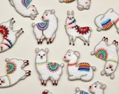 Llama Iron-on patches/motifs -- High Quality with White Background and Bold and Colourful Embroidery Detail